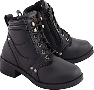 Milwaukee Leather MBK9265 Boys Black Lace-Up Boots with Side Zipper Entry - 2
