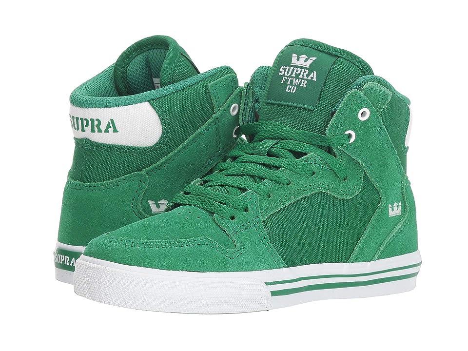 Supra Kids Vaider (Little Kid/Big Kid) (Green/White/White) Boys Shoes