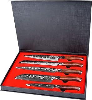 YARENH 5 Pièces Ensembles de Couteaux de Cuisine Professionnel,Couteaux en Acier Japonais Damas,Set Couteau Damas Japonais...