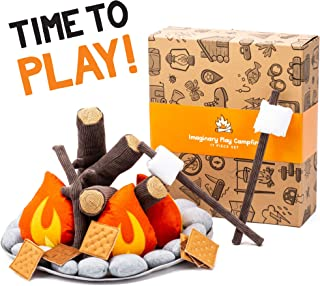 HUNIIHOME Pretend Campfire for Kids - Sensory Toys Play Learning Resources Camping Set with Plush Felt Fake Fire, Logs and Stones with Fake Food Marshmallow and S'Mores - 17 Piece Set