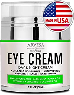 Best Eye Cream For Dark Circles and Puffiness - with Hyaluronic Acid - Vitamin C + E - Anti Aging Complex to Reduce Eye Bags - Wrinkles - Fine Lines - Made in USA - for Men & Women - 1.7 OZ