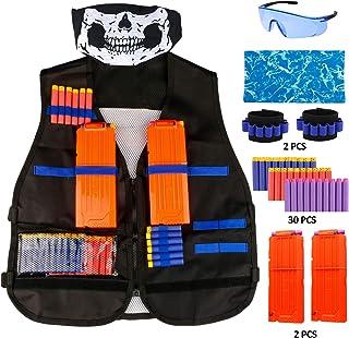 Gafild Kit de Chaleco Táctico para Niños, Chaqueta Táctica para Pistola Nerf Serie Juego de Batalla, con 30 de Espuma Dardos, 2 Quick Reload Clips, 2 muñequera, 2 Máscara, Gafas Protectoras