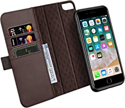 ZOVER [Updated] iPhone 8 Plus 7 Plus 6 Plus Detachable Wallet Case Genuine Leather RFID Blocking Magnetic Clasps Support Car Mount Kickstand Feature Card Bison Fone Slots Gift Box Dark Brown