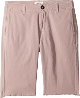 Raw Hem Sateen Chino Shorts in Faded Red (Big Kids)