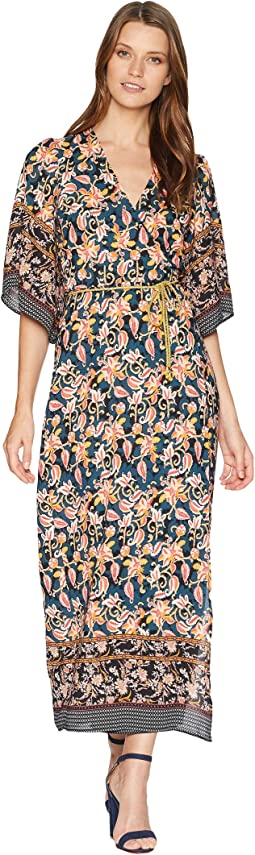 Printed Border Wrap Dress