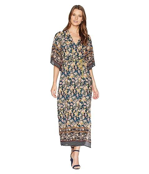ALEXIA ADMOR Printed Border Wrap Dress, Navy Multi
