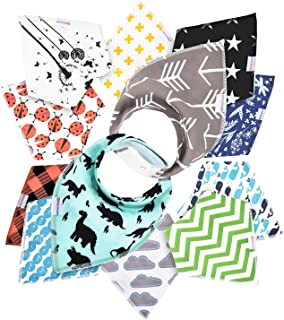 12- Pack Baby Bandana Drool Bibs for Drooling and Teething by Daulia, Unisex Super Absorbent Organic Cotton, Cute Baby Gift for Boys & Girls, Toddler Baby Shower Gift Set … (Nature Set)