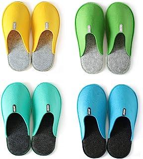 Lucky Sign - Pantofole per Ospiti 4 Paia Antiscivolo Ciabatte in feltro di alta Qualità Unisex, Small/X-Large - Bunt