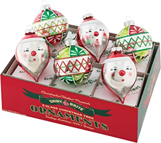 Shiny Brite Holiday Splendor 6 Count Rounds & Santa Face Christmas Ornaments