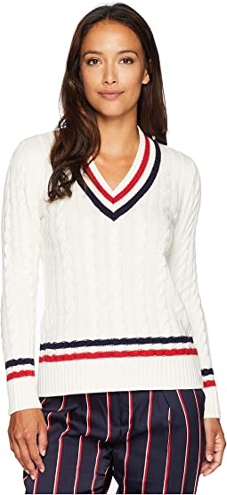 Petite Cable-Knit Cricket Sweater