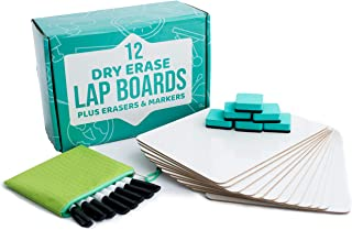"Dry Erase Lapboards   12pc Classroom Pack Mini Lapboards + 12 Bonus Whiteboard Markers + Felt Erasers - 9"" x12"" Double Sid..."