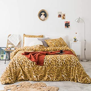 YuHeGuoJi 3 Piece Duvet Cover Set 100% Cotton Queen Size Gold Leopard Print Bedding Set 1 Wild Animal Pattern Duvet Cover with Zipper Ties 2 Pillowcases Luxurious Quality Soft Comfortable Easy Care