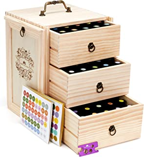 Essential Oil Storage for 75 Bottles - Holds 5 10 15 20 30 ml Young Living & Doterra bottles - Essential Oil Box