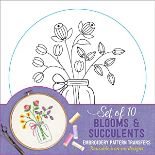 Blooms & Succulents Embroidery Pattern Transfers (set of 10 hoop designs!)