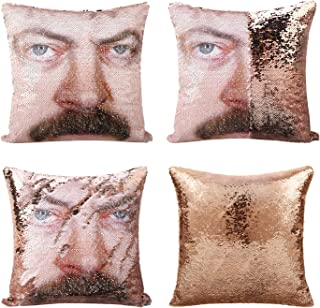 cygnus Parks and Recreaton Gifts Ron Swanson Mermaid Reversible Sequin Pillow Cover Without Insert Color Changing Sequins ...