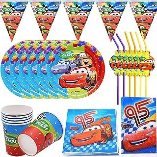 39 Piezas cars Accesorio de Decoración de Fiesta de Cumpleaños para con Platos Servilletas y Mantel Resistente para 6 Invi...