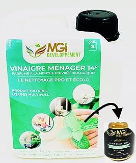 2L vinagre blanco con 14° aceites esenciales de menta–para un limpieza eficaz y écolo–Calidad profesional–polivalente: nettoie, dégraisse, détartre y Parfume (2litros)