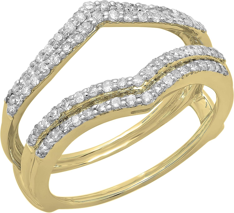 Dazzlingrock Collection 0.50 Carat (ctw) Round White Diamond Double Chevron Ladies Wedding Band Enhancer Guard Double Ring   10K Gold