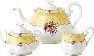 Royal Albert 100 Years 1990 3-Piece Set (Teapot, Sugar & Creamer) Bouquet 3-Pc Tea Service, Mixed Colors