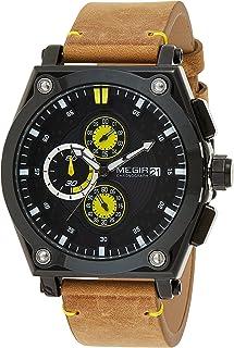 ساعة للرجال من ميجر، مع عرض كرونوغراف وحركة الكوارتز وسوار جلدي - طراز 2098G