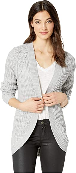 Cocoon Cardigan w/ Pointelle and All Over Shaker Stitch