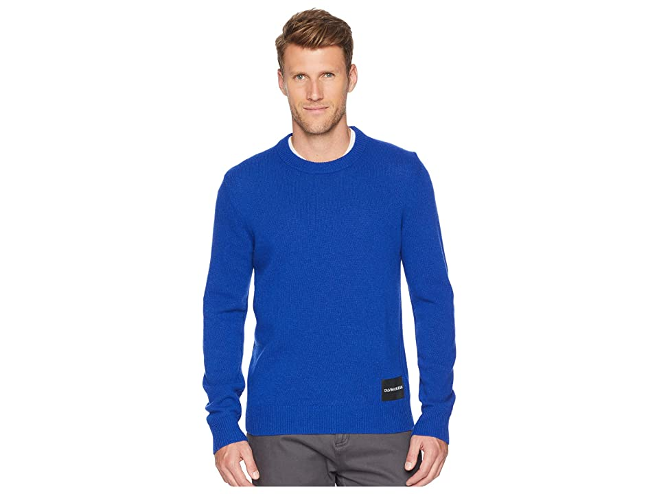 Calvin Klein Jeans Lambswool Pullover with Logo Patch (Mazarine Blue) Men