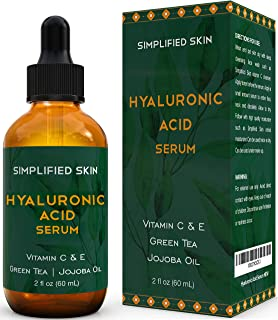 Hyaluronic Acid Serum for Face & Eyes (2 oz) with Vitamin C, E & Green Tea for Anti-Aging, Moisturizing, Antioxidant & Wrinkle Treatment. Best Hydrating Pure Facial Serum by Simplified Skin