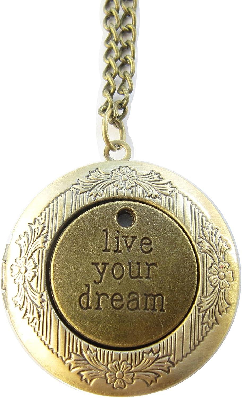 Bronze Dream Locket Pendant,live Your Dream Locket Necklace,follow Your Dreams Locket Jewelry