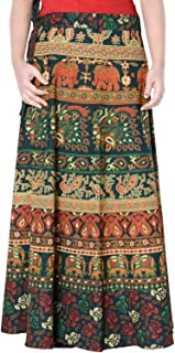 Rajvila Women's Cotton Printed Long 36 Inch Length Regular Wrap Around Skirt Colour (F_W36NT_0002)