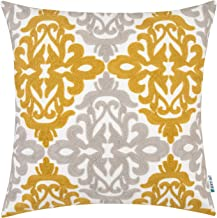 HWY 50 Yellow Decorative Embroidered Throw Pillow Covers Cushion Cases for Couch Sofa Bed 18 x 18 inch Accent Floral Geometric 1 Piece