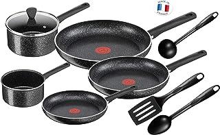 Tefal Batterie De Cuisine Poêles et Casseroles Brut 9 pièces Tous Feux Dont Induction C2649202, Aluminium, Noir, 59 x 39 x...