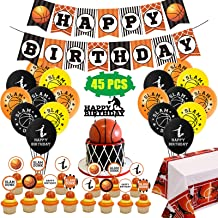 Basketball Party Decorations Supplies, Sports Theme Birthday Party Decor with Banner, Balloons, KB Cupcake Toppers, Table ...