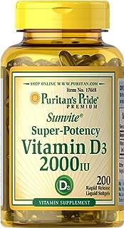 Puritans Pride Vitamin D3 2000 Iu, 200 Count