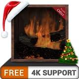 バーチャル暖炉HD無料-冬のクリスマス休暇の部屋を、HDR 8K 4Kテレビのロマンチックな煙突と、調停と平和のための壁紙とテーマとしての火器で飾ります