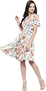 SERA Women's Off-White Floral Printed Knee Length Dress