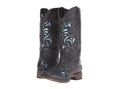 Roper Laser Cut Metallic Underlay Boot (Black/Blue) Cowboy Boots