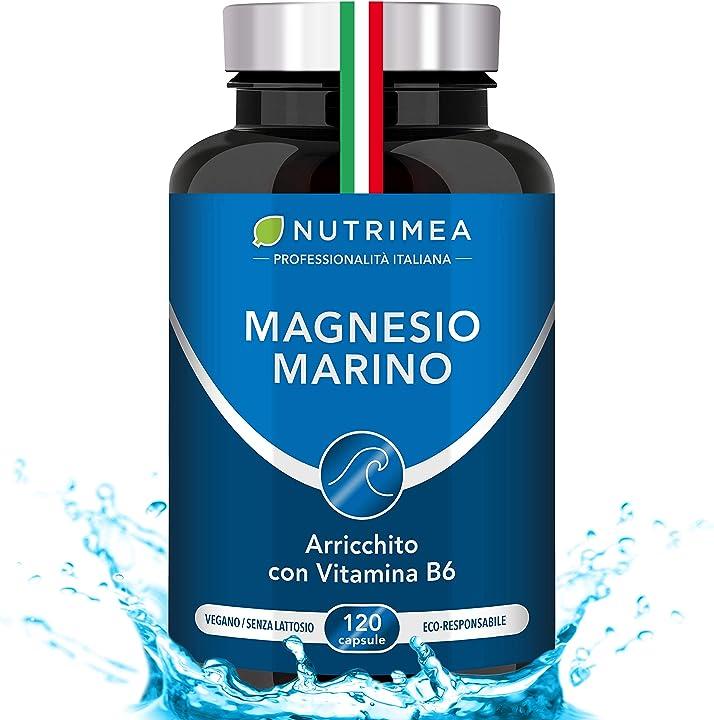 Magnesio marino e vitamina b6 | 300 mg al giorno | combatte fatica e stress | nutrimea B01AILBUPY