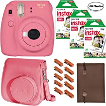Fujifilm Instax Mini 9 (Flamingo Pink), 3X Instax Film (60 Sheets), Groovy Case, Accordion Album and Hanging Pegs