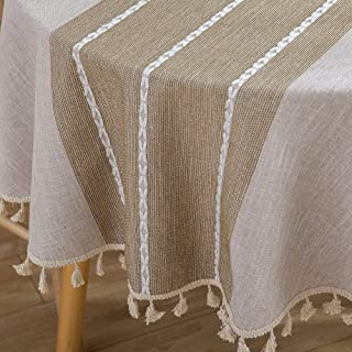 Lahome Stitching Tassel Tablecloth - Heavy Weight Embroidery Cotton Linen Washable Table Cover for Kitchen Dining Room Restaurant Party Decoration (Round - 60