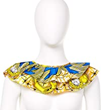 African Fabric Necklace, Handmade Fabric Dashiki Kente Ankara African Print Bandanna Fabric Bib Collar Necklace Neckwear (Color C)