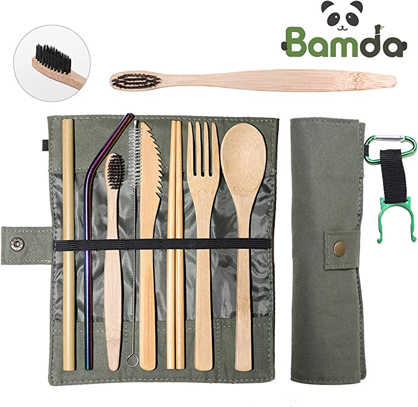 Bamboo Utensils Bamda Cutlery Travel Set For Kids Adults Eco Friendly 7 87 Inch Outdoor Portable Reusable Utensils With Case Extra With Mineral Water Clip And Carabiner