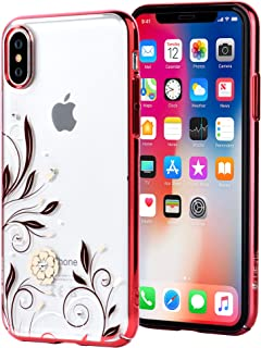 Devia iPhone X Case with Swarovski Crystals | Premium PC Material, Shock Resistance, Slim & Transparent | Wireless Charger Compatible | Ideal for Women, Girls | Crystal Petunia Cover | 5.8 inch (Red)