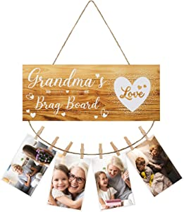 Grandma's Brag Board Sign Rustic Grandmas Decor Wooden Hanging Photo Holder Retro Farmhouse Wall Decoration with Clips and Twine for Living Room Bedroom Picture Hanging