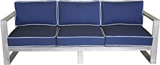 Courtyard Casual Driftwood Gray Teak Modern North Shore Outdoor Three Seater Sofa with Cushions