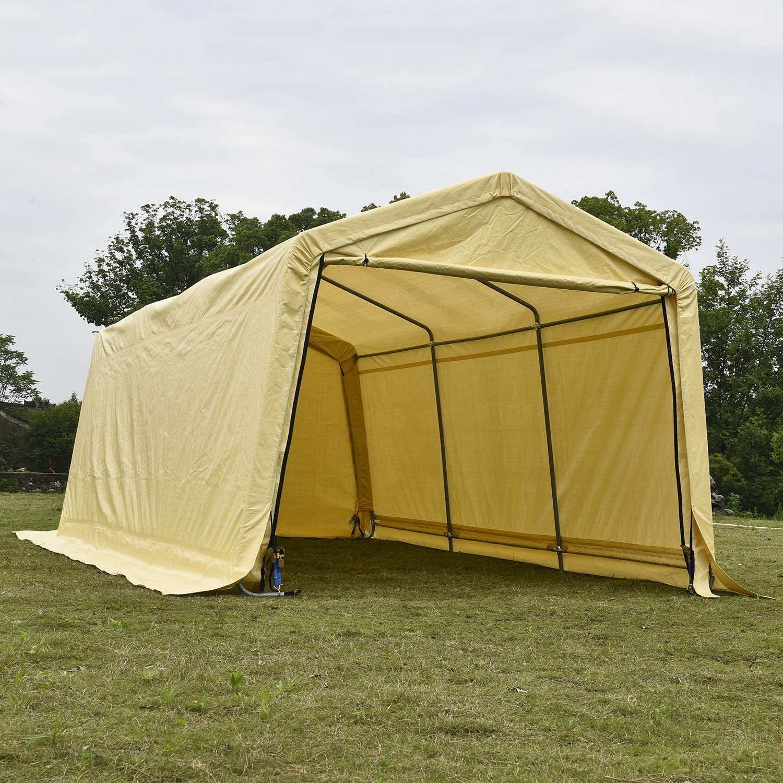 Amazon Com Walsport Patio Portable Carport Garage Car Canopy Tent For Garden Storage Large Heavy Duty Yellow 20 X 10 X 8 Feet Peak Roof Home Kitchen