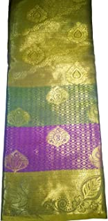 WVasthra Women's Silk Blend Kanchipuram Saree with Blouse Piece (CD-29316m, Gold, Green, Purple, Orange)