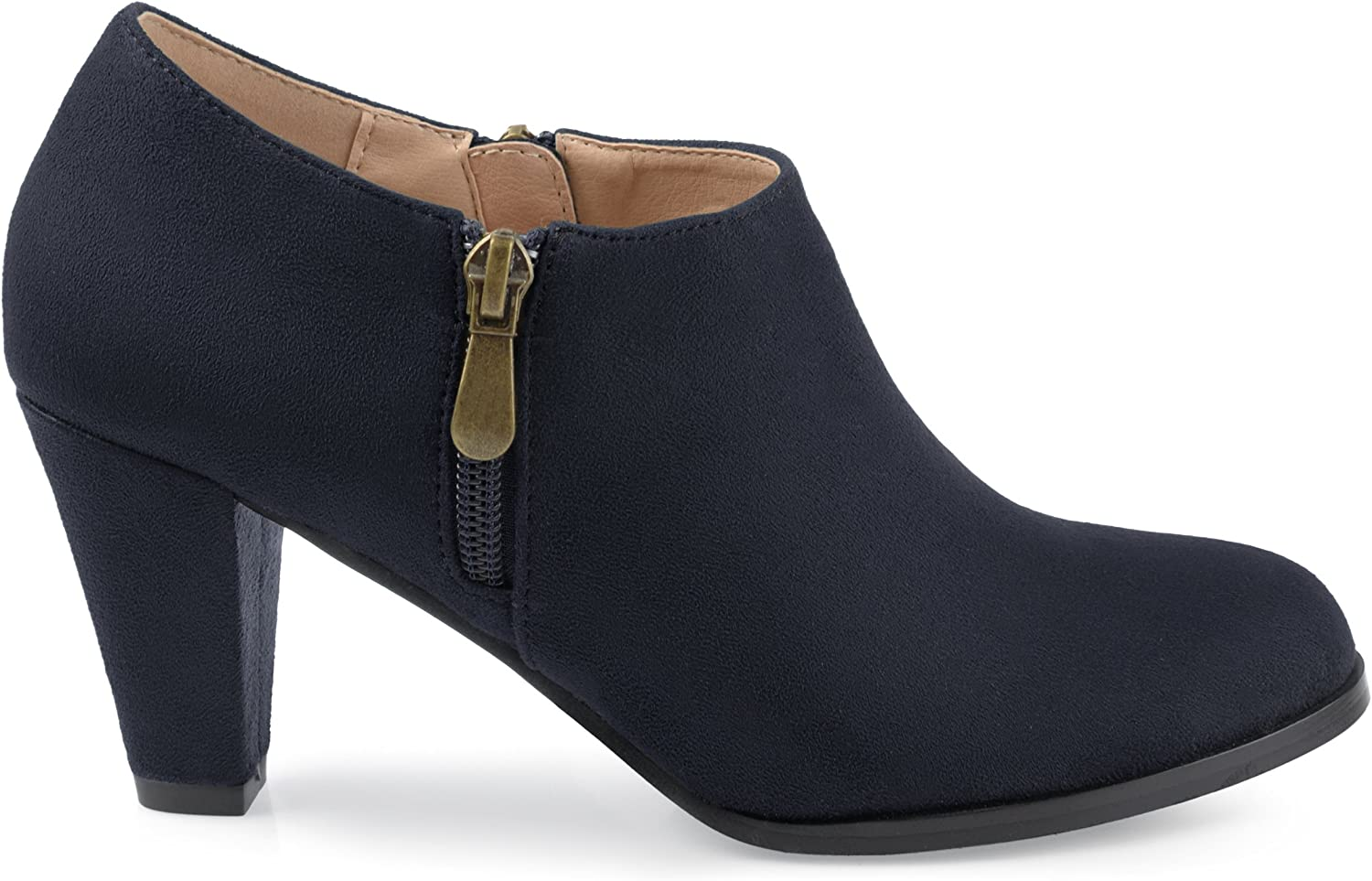Brinley Co. Womens Sadra Faux Suede Low-Cut Comfort-Sole Ankle Booties Navy, 5.5 Regular US