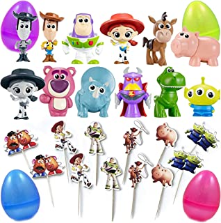 PARK AVE 12 Toy Story Mini Figures and 12 Cupcake Topper Picks with Jumbo Egg Storage, 1.5-2.5