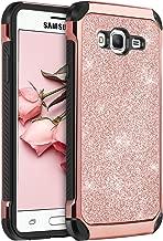 Galaxy J3 Case, J3 Case, Express Prime Case, Amp Prime Case, BENTOBEN 2 in 1 Glitter Bling Hybrid Hard Cover Sparkly Shiny Faux Leather Shockproof Protective Case for Samsung Galaxy J3/J320, Rose Gold