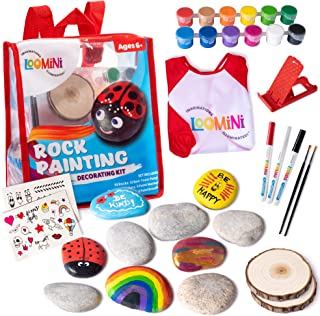 Loomini Rock Painting Kit - Arts and Crafts for Kids - Supplies for Painting Rocks
